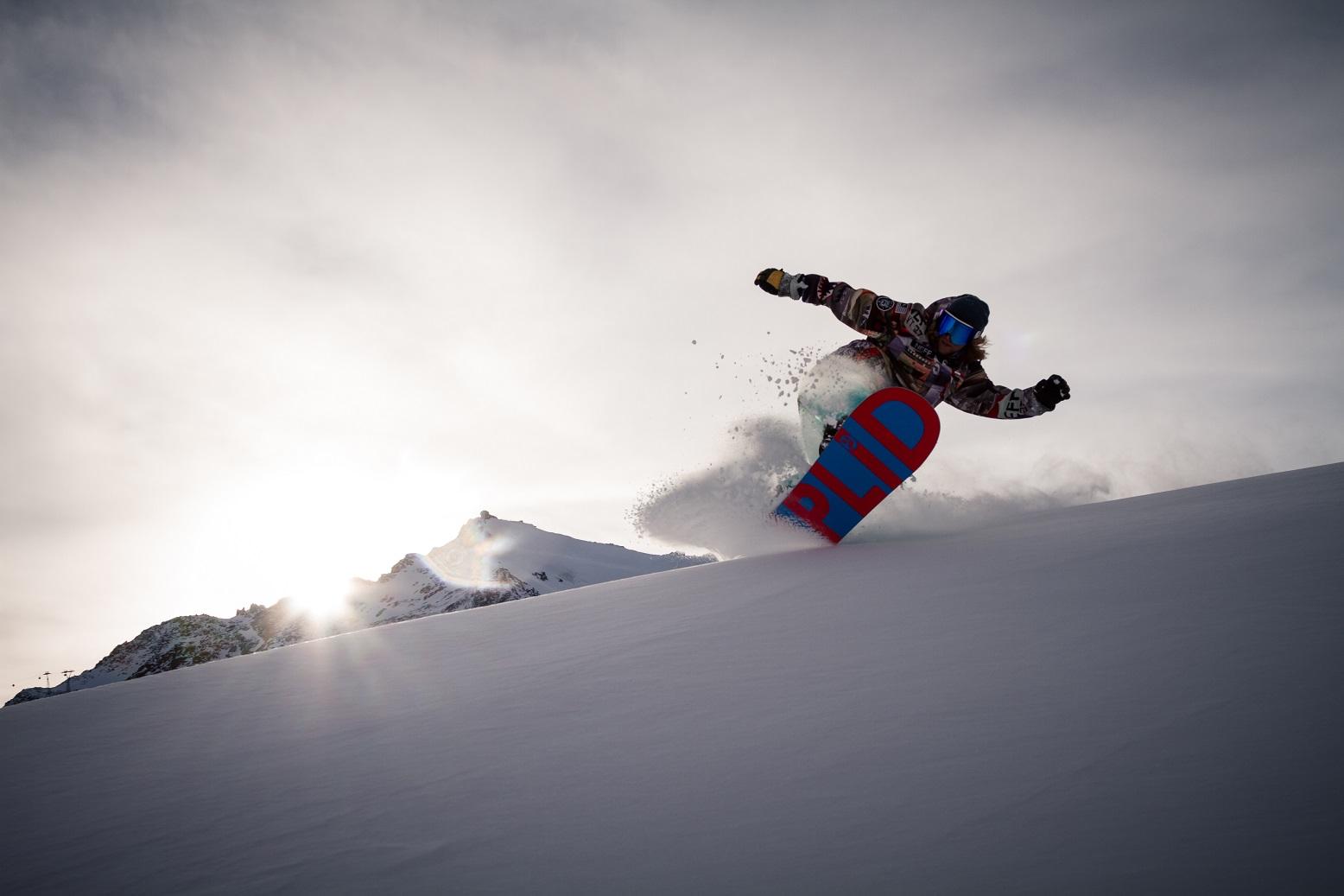 tiefschnee, turn, snowboarder, powder